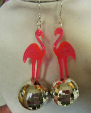 BIG PINK FLAMINGO & 70s and 80s  EARRINGS SILVER DISCO BALL LUAU PARTY