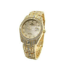 Peire Bernie G3777 Mens Swarovski Crystal Stone Studded Jewelry Watch: GOLD