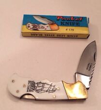 "New Old Stock Scrimshaw Boat 3"" Folding Pocket Knife. Pakistan Stainless"
