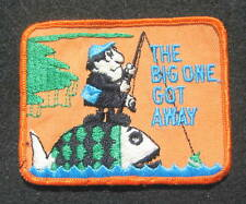 """THE BIG ONE GOT AWAY EMBROIDERED SEW ON ONLY PATCH FISHING ANGLER 4"""" x 3"""""""