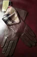 BURBERRY Brown Leather Silk Lined Gloves Size 6.5 NWT Buttery Soft @SUPER GIFT