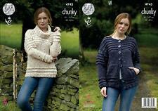King Cole 4743 Knitting Pattern Womens Sweater and Cardigan in Chunky Tweed