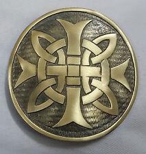 """Croix Celtique Rond Ceinture Boucle Kilt Finition Antique 3""""/Kilt"""
