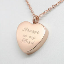 ALWAYS IN MY HEART URN NECKLACE ROSE GOLD CREMATION JEWELRY KEEPSAKE MEMORIAL