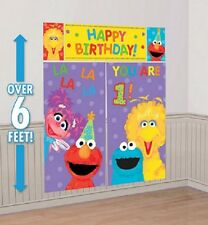 Sesame Street 1st Birthday Party Scene Setters Wall Decorating Kit 5 Pieces