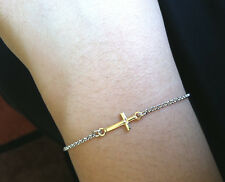 7.5 inch Italian .925 Sterling Silver Sideways Cross Gold Plated Charm Bracelet