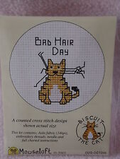 MOUSELOFT STITCHLETS CROSS STITCH KIT ~ BISCUIT THE CAT ~ BAD HAIR DAY ~ NEW