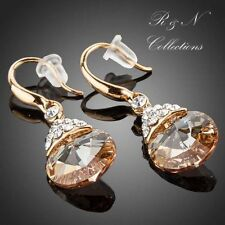 18K Gold Plated Gold Round Swarovski Element Crystal Drop Earrings