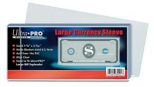 (100) Ultro Pro Large Bill Currency Sleeves Blanket Size Notes 2 mil Polypro