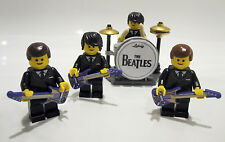THE BEATLES MINIFIGURES Custom Lego band with DRUM KIT & GUITARS Fantastic gift!