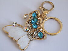 HANDBAG BUCKLE CHARMS AQUA CRYSTAL & WHITE ENAMEL BUTTERFLY KEYRINGS KEY CHAIN