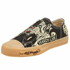 designer Ed Hardy Women Lowrise Organic Sneakers Gym Shoes sz 6 Black Tan Fayed