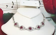 Natural Ruby 5mm & Cubic Zirconia With 925 Sterling Silver Bracelet. SS0041
