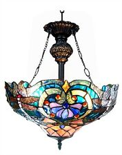 """LYDIA"" Tiffany-style Victorian 2 Light Inverted Ceiling Pendent Fixture 17"""