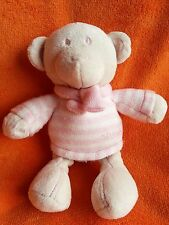 "Next Pink Teddy bear soft toy Comforter 10"" wearing knitted jumper and scarf"