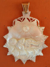ANTIQUE & HOLY MEDAL SLEEP OF CHILD JESUS OF MOTHER OF  PEARL CARVED & GOLD 18 K