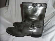 RODOLPHE MENUDIER PARIS MEN GREY LEATHER PULL UP ANKLE BOOT SIZE UK 8 EU 42 VGC