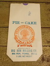 1 Qty - 8 x 15 Old Paper Vintage Pie & Cake Flour Sack Feed Seed Sign Big Run Pa