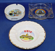 3 Vintage Ashtrays Location Themed Tucson Washington DC Ohio