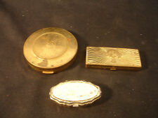 Old Vtg Avon Gold Tone Decorative Make-up Compact Powder LOT of 3