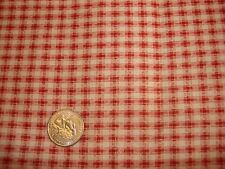 "Cotton Fabric Piece DARK RED & CREAM PLAID CHECK 1 Yd/44"" Marcus Bros"