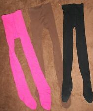 Mixed LOT of THREE Pair of Girls Unbranded Winter Tights, Size 7-10.