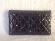 Authentic Chanel Black Lambskin Leather Bifold Long Wallet