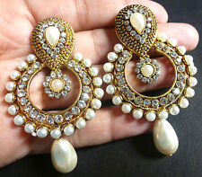 Vintage Antique Gold Plated Pearl Round Drop Indian Jhumka Earrings Bridal Set/
