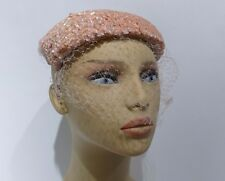Vintage Pillbox Hat  Pink Sequins and Netting Accent 1950s Church Wedding Guest