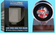ULTRA PRO DARK WOOD BASE HOCKEY PUCK DISPLAY NEW Acrylic Case Holder Stand
