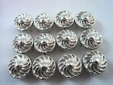 12 Round Silver Tone Rosette Studs Clothing Decoration 1/2""
