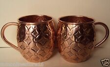 Set Of 2 100% Pure Copper Handmade Carved Premium Moscow Mule Mugs Cups 18 Oz