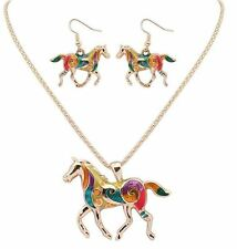 NEW HORSE CHARM PENDANT GOLD NECKLACE ENAMEL MATCHING EARRINGS