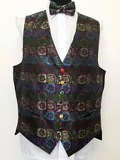 P182 MENS JOHN VIRGO FUNKY TWO TONE CHECK SNOOKER WAISTCOAT & BOW TIE L 42L LONG