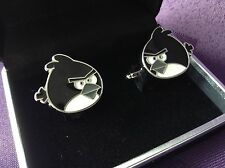 Silver Black Angry Birds Cufflinks, Black Velvet Gift Box, Brand New