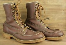 Vintage WORK N' SPORT Brown Leather Work Hunting Motorcycle Boots Sz. 7.5 E
