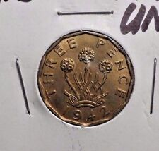 UNCIRCULATED 1942 3 PENCE UK COIN (82416)
