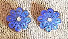 Vintage David Andersen Norway Sterling Silver Enamel Blue Flower Clip Earrings