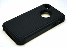 NEW iPhone 4 4S 3 Layer Protective Case BLACK Silicone TPU & Hard Poly Shell