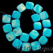 "17mm Turquoise Blue MOP Square Beads 15""(SH064)b"