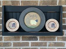 "Primitive Country Rustic Distressed 24""  Black Wood Dish/Bowl/ Plate Shelf"