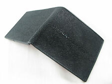 Genuine Black Stingray Skin Leather Mens Bi-Fold Wallet All Black FREE SHIPPING