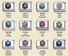 NOVEMBER TOPAZ CZ FLOWER BIRTHSTONE ITALIAN CHARM 9MM CLASSIC DIY BRACELETS NEW