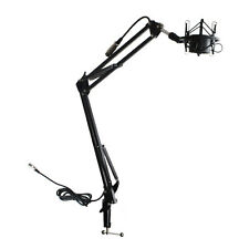 Microphone Suspension Scissor Arm Stand w/Shock Mount for Broadcast Recording