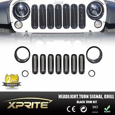 11pcs Black Headlight Trim Front Grill Insert Grille Cover Set for Jeep Wrangler