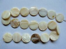 Mother of pearl shell MOP cream 20mm flat round coin beads 16""