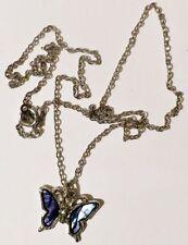 pendentif chaine papillon nacre abalone bijou couleur argent poli brillant *3504