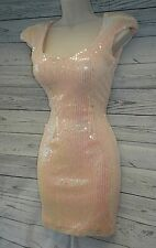 FAB PINK SEQUIN BODYCON DRESS SIZE 12