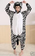Zebra Unisex Adult Pajamas Kigurumi Cosplay Costume Animal Onesie Sleepwear L