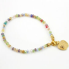 Multi Colour Bead Gold Plated Friendship Bracelet Charm Apple